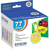 EPSON® 77 T077920 Claria Hi-Definition Ink Cartridges; Color Multi-pack (5 cart per pack)