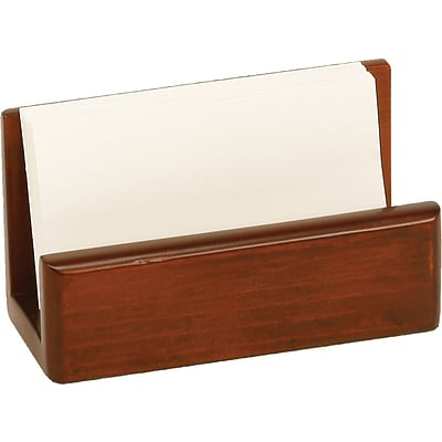 C.R. Gibson® Desk Accessories; Mahagony Birch Wood Business Card Holder