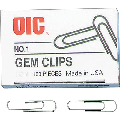 Officemate® Gem Clips, Standard, Smooth, 100/Box