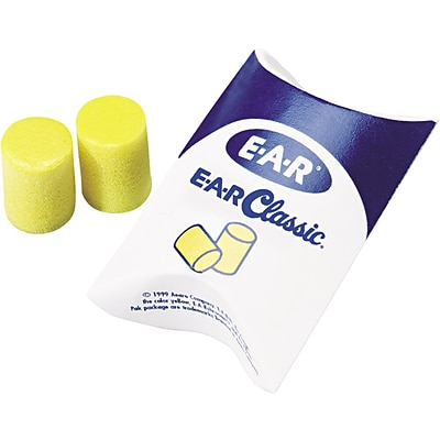 3M E-A-R™ Classic™ Plus PVC Foam Earplugs in Pillow Pak™, NRR 33dB, Uncorded, Yellow, 200 Pairs/Box