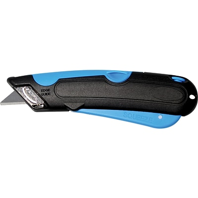 Cosco® Easycut Plastic Self-Retracting Safety-Tipped Blade Cutter Knife, Black/Blue