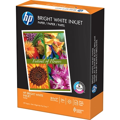 HP Bright White Inkjet Copy Paper, 8-1/2 x 11, 97 Bright, 24 LB, 500 Sheets