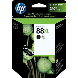 HP 88XL Black Ink Cartridge (C9396AN); High Yield