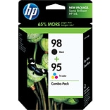 HP 98 Black/95 Tri-Color Inkjet Cartridges, 2 Cartons/Pack (CB327FN)