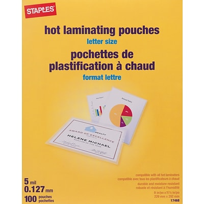 Staples Letter Size Thermal Laminating Pouches, 5 mil, 100 pack