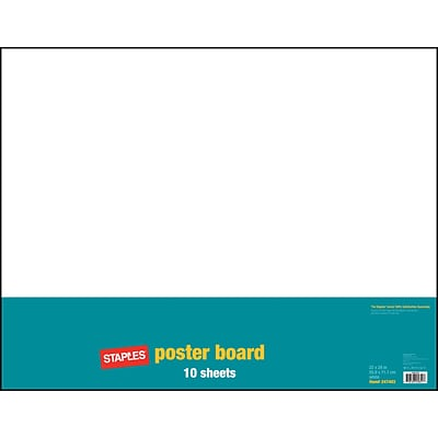 Staples Poster Boards, 10-Pack, White, 22 x 28 (MMK04500S)