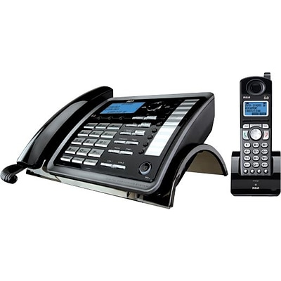 RCA 2-Line Corded/Cordless Expandable Phone System, With Digital Answering System