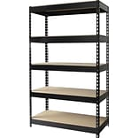Hirsh Heavy Duty Industrial Steel Shelving, 5 Shelves, Black, 60H x 36W x 16D