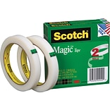 Scotch® Magic Tape, Invisible, Write On, Matte Finish, 1/2 x 72 yds., 3 Core, 2 Rolls (810-2P12-72