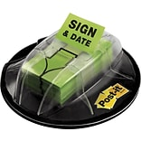 Post-it® Sign and Date Message Flags, 1 Wide, Green, 200 Flags/Pack (680-HVSD)