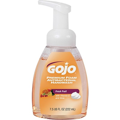 GOJO Luxury Antibacterial Foam Hand Wash Pump Bottle, Fresh Fruit Scent, 7.5 oz., 6/Ct