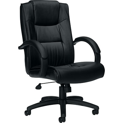 Offices To Go® Exec Chair w/Integral Headrest, Black, Leather, Seat: 21x18.5, Back: 25.5x21.5