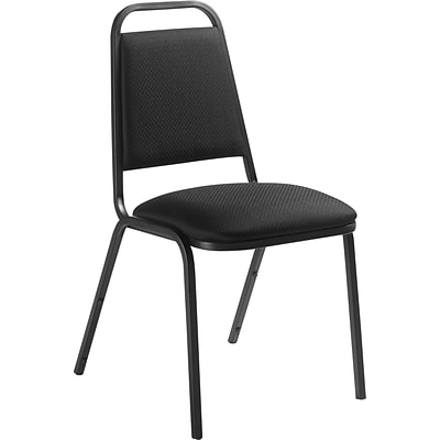 Offices To Go® Stacking Chair, Fabric Upholstery, Black, Seat: 18x16.5x16.5, Back: 15.5x12