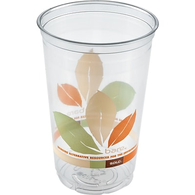 Solo® Plastic Cups, Bare™ RPET Clear Cold Cup, 16oz., 50/Pk, 20/CT