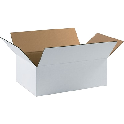 17 1/4(L) x 11 1/4(W) x 6(H) Shipping Boxes, 32 ECT, White, 25 /Bundle(17116W)