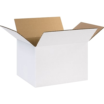 12(L) x 10(W) x 8(H) Shipping Boxes, 32 ECT, White, 25 /Bundle(12108W)