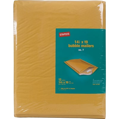 Bubble Mailers, #7, Golden Brown, 14 1/2H x 20W, 12/Dz