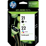 HP 21/22 Black/Tri-Color Ink Cartridges, Standard Yield, 2/Pack (C9509FN)