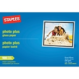 Staples® Photo Plus Paper; 4 x 6, Gloss, 100/Pack