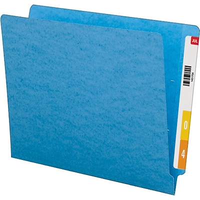 Smead® Colored End Tab Folder; Shelf-Master® Reinforced Straight-Cut, Letter Size, Blue, 100/Box