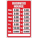 8x12 Business Hours Sign Kit