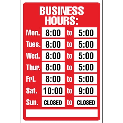 Business Hours Sign Kit, 8x12