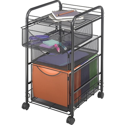 Safco® Onyx™ Mesh File Cart, 1 File, 2 Drawers