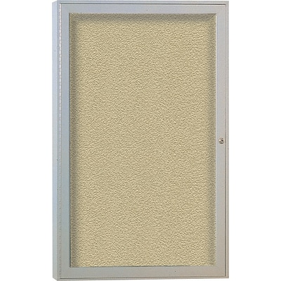 Ghent 1 Door Enclosed Vinyl Bulletin Board with Satin Frame, 3H x 2W, Caramel