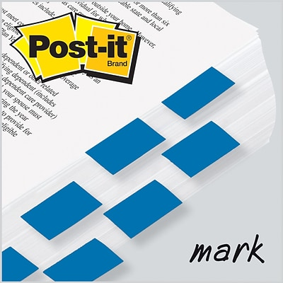 Post-it® Flag 1x1-3/4 2-Pack, Blue, 2400/Carton