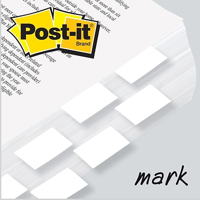 Post-it® Flag 1 x 1-3/4 2-Pack, White, 2400/Carton
