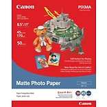Canon Photo Paper, LETTER-size, 92 Brightness, Matte, 8 1/2 x 11, 50 Sheets/Pk