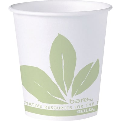 Solo® Bare® Eco-Forward® Paper Water Cups 3 oz., Bare® Design, 100/Pack (44BB-JD110)