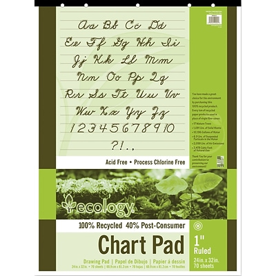 Pacon S.A.V.E Recycled Unruled Chart Pad, 24 x 32, 70 Sheets/Pad