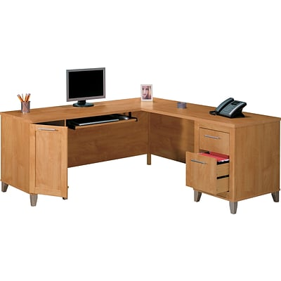 Charmant Bush Furniture Somerset 71W L Shaped Desk, Maple Cross (WC81410K)