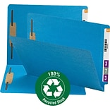 Smead 100% Recycled End Tab Fastener File Folder, Reinforced Straight-Cut Tab, 2 Fasteners, Blue (34