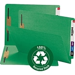 Smead® 100% Recycled Reinforced End-Tab Colored File Folders, 2-Fasteners, Letter, Green, 50/Bx (341