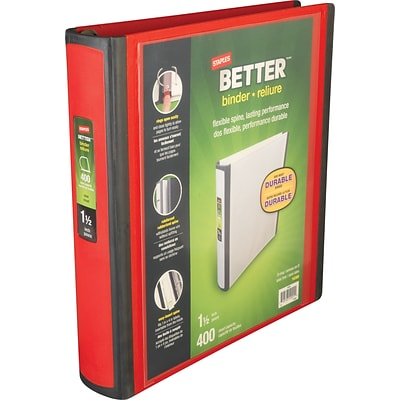 Better 1.5-Inch D-Ring View Binder, Red (18369)