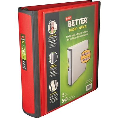 Better View 2-Inch Heavy-Duty Nonstick D-Ring View Binder, Red (18368)