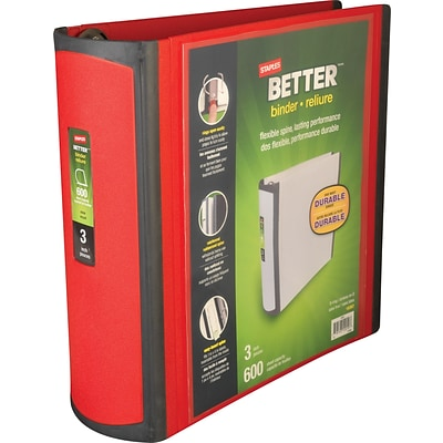 Better 3-Inch D-Ring View Binder, Red (18367)