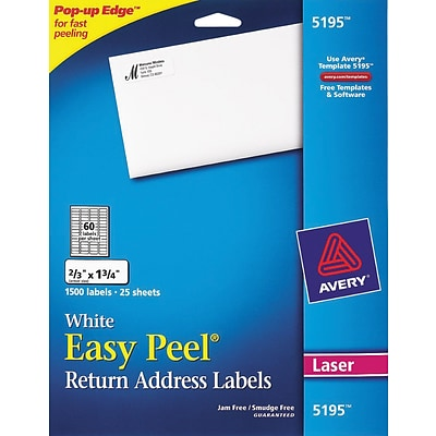 Avery® 5195 White Laser Return Address Labels with Easy Peel®, 2/3 x 1-3/4, 1,500/Box
