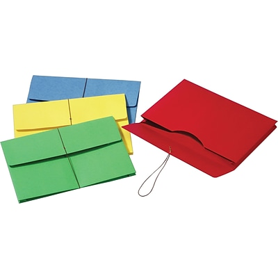 Globe-Weis® Colored Expanding Wallets w/Elastic Cords, Legal, Assorted Colors
