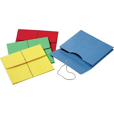 Globe-Weis® Colored Expanding Wallets w/Elastic Cords, Letter, Assorted Colors