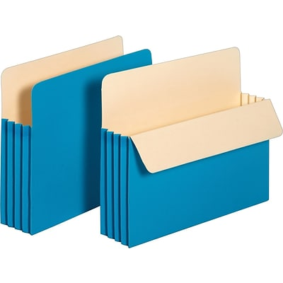 Pendaflex® Colored File Pockets, 3.5, Letter, Blue