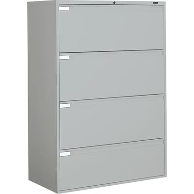 Global 9300P Series Business-Plus Lateral File Cabinet, Ltr/Lgl, 4-Drawer, Light Grey, 18D, 42W
