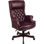 Office Star High-Back Faux Leather Executive Chair; Fixed Arms, Burgundy