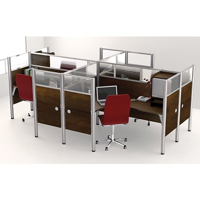 Bestar® Pro Biz Collections in Chocolate, Quad L-Shaped Workstation