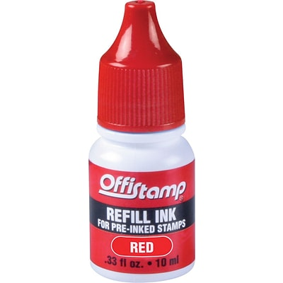 Offistamp® Pre-Inked Stamps Refill Ink, Red