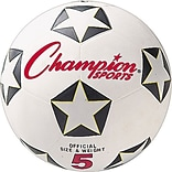 Champions Water-Resistant Rubber-Covered Sports Ball, White/Black, Size 5 Soccer Ball
