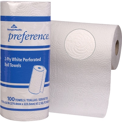 Preference®, 2 Ply, Perforated Roll Paper Towel, White, 100 Sheets/Roll, 30 Rolls/Case, (27300)