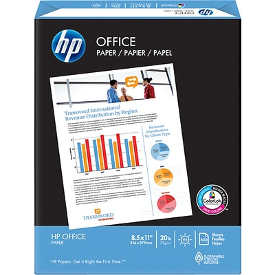 HP Office Copy Paper, 8-1/2 x 11, 92 Bright, 20 LB, 500 Sheets